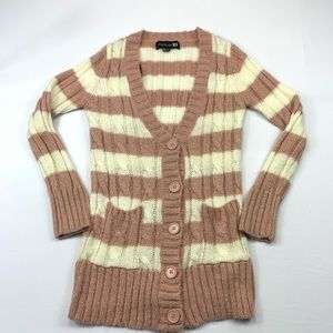 Forever 21 Cardigan Sweater Knit Button Striped